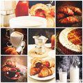 Italian breakfast set of picture Royalty Free Stock Photography