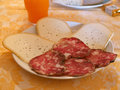 Italian breakfast typical with cheese and traditional salami Stock Photo