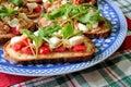 Italian bruschetta on a decorate plate with tomato tuna mozzarella and arugula Stock Photos