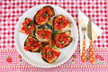 Italian bruschetta  with tomato, garlic and basil Stock Images