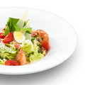 Italian caesar salad with royal shrimps fresh delicious and parmesan cheese on white Royalty Free Stock Photography