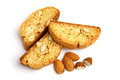 Italian cantuccini cookie with almond filling. Isolated on white background. Royalty Free Stock Photo
