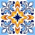 Italian ceramic tile pattern. Ethnic folk ornament.