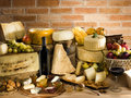 Italian cheese with red wine Royalty Free Stock Photography