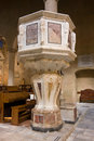 Italian church romanesque style italy tuscany very old marble pulpit baroque the domain of the clergyman Stock Photography