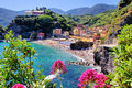 Italian coast cinque terre village of monterosso with flowers italy Stock Photo