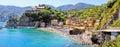 Italian coast panorama panoramic coastal view at monterosso cinque terre italy Royalty Free Stock Photo