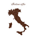 Italian coffee. Map of Italy created from coffee beans isolated