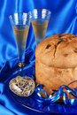 Italian composition with panettone and spumante Royalty Free Stock Photo