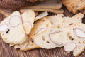 Italian cookies biscotti with almond a piece of Stock Image