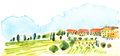 Italian countryside landscape illustration Royalty Free Stock Photography