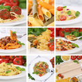 Italian cuisine collection of ingredients for a spaghetti pasta Royalty Free Stock Photo