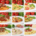 Italian cuisine collection of spaghetti pasta noodles food meals penne with tomatoes and basil Stock Photography