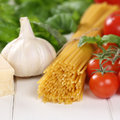 Italian cuisine ingredients for spaghetti pasta noodles meal wit Royalty Free Stock Photo
