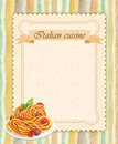 Italian cuisine restaurant menu card design in vintage style portrait format Royalty Free Stock Image