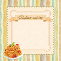Italian cuisine restaurant menu card design in vintage style square format Royalty Free Stock Photos