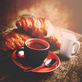 Italian delicious breakfast in vintage style Royalty Free Stock Photos