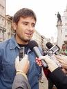 Italian deputy of Movimento 5 Stelle, Alessandro Di Battista, in Trieste Royalty Free Stock Photo