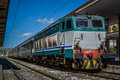 Italian diesel train at station Stock Images