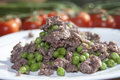 Italian diet peas minced meat Royalty Free Stock Images