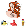 Italian dress, gelato, pinocchio, goddess of love. Italy set collection icons in cartoon style vector symbol stock Royalty Free Stock Photo
