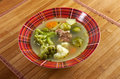 Italian farm style soup with broccoli country vegetables Stock Image
