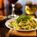 Italian fettuccine in basil pesto dinner Royalty Free Stock Photo