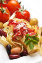 Italian fettuccine pasta with beans Royalty Free Stock Image