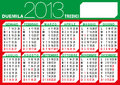 Italian flag 2013 calendar Royalty Free Stock Image