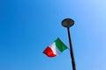 Italian flag on a modern public lamp