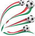 Italian flag set with soccer ball on white background Stock Images