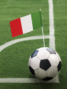 Italian flag on top of soccer ball Stock Images