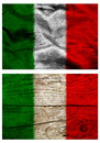 Italian flags flag of italy on silver silky fabric and wooden surface Royalty Free Stock Photography