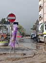 Italian floods aftermath - no entry road sign Royalty Free Stock Photo