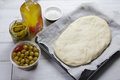 Italian focaccia bread dough Royalty Free Stock Photos