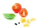Italian food concept Elbow Macaroni with tomato and sweet basil Royalty Free Stock Photo