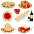 Italian food illustrations Royalty Free Stock Photos