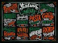 Italian food menu - names of dishes. Lettering phrases for your design, stylized drawing with chalk.