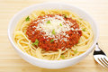 Italian Food Pasta Spaghetti Bolognese Tabletop Stock Photography