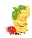 Italian food  - pasta, tomatoes, basil, garlic Royalty Free Stock Photo