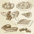 Italian food pizza vegetables hand drawn set Stock Images