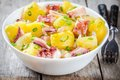 Italian food: salad with octopus, potatoes and onions Royalty Free Stock Photo