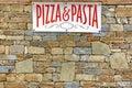 Italian Food Sign On Old Stone...