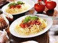 Italian food spaghetti with tomato sauce basil garnish Stock Images