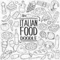 Italian Food Traditional doodle icon hand draw set