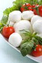 Italian fresh caprese mozzarella tomato basil white bowl green background Stock Photography