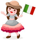 Italian girl holding flag Royalty Free Stock Images