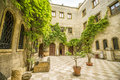 Italian green courtyard in Brindisi, Puglia, Italy Royalty Free Stock Photo