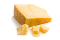Italian hard cheese on white background Stock Images