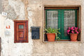 Italian home exterior photo of wall with window and mailbox photo taken in cilento area campania italy Stock Photo